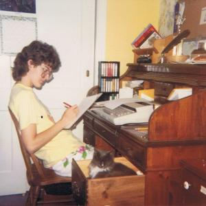 Myself, many moons ago (1987), editing my own writing with a red pen.