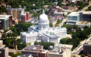 Wisconsin State Capital on a clear summer day. Aerial photo.